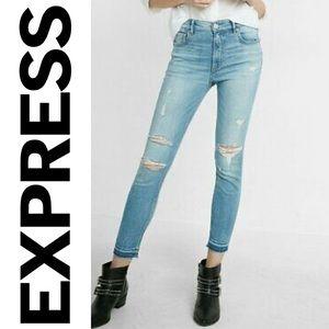 EUC {EXPRESS} High Waist Raw Hem Distressed Jean